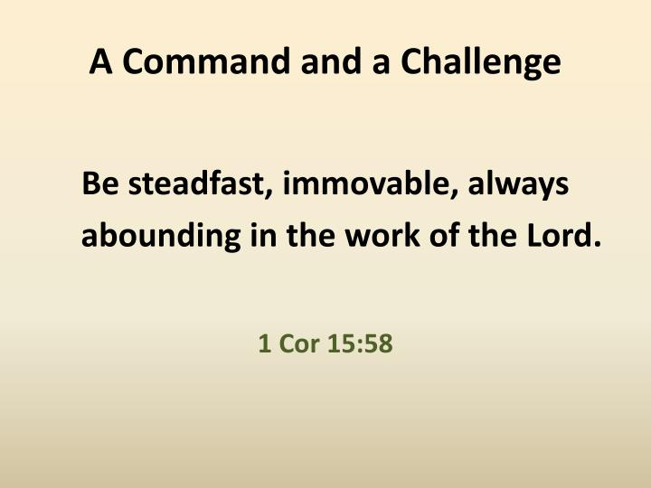 A command and a challenge