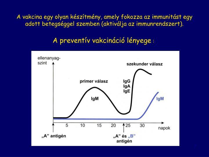 A vakcina egy olyan készítmény, amely fokozza az immunitást egy adott betegséggel szemben (aktiválja az immunrendszert).