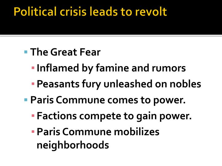 Political crisis leads to revolt