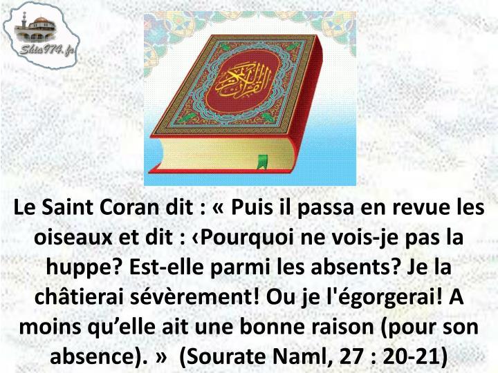Le Saint Coran dit : «Puis il passa en revue les oiseaux et dit : ‹Pourquoi ne vois-je pas la huppe? Est-elle parmi les absents? Je la châtierai sévèrement! Ou je l'égorgerai! A moins qu'elle ait une bonne raison (pour son absence