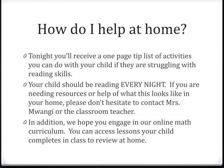 How do I help at home?