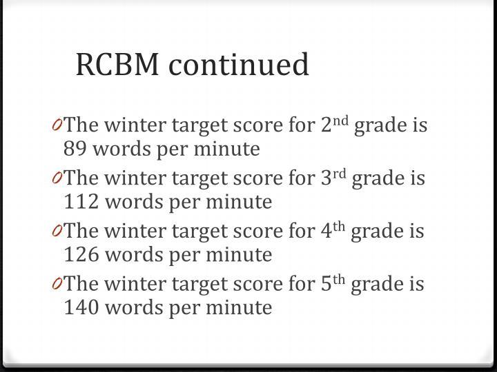 RCBM continued