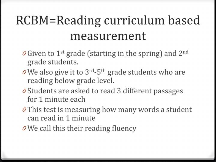 RCBM=Reading curriculum based measurement