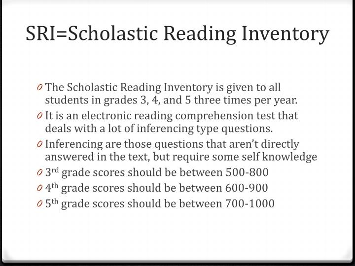 SRI=Scholastic Reading Inventory
