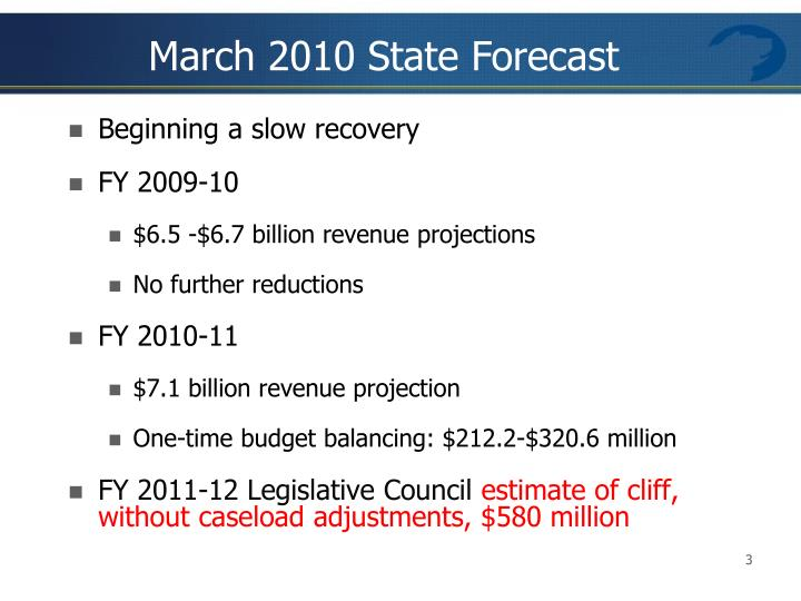 March 2010 State Forecast