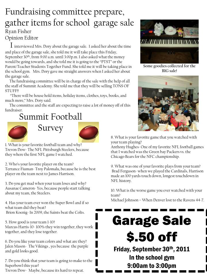 Fundraising committee prepare, gather items for school  garage