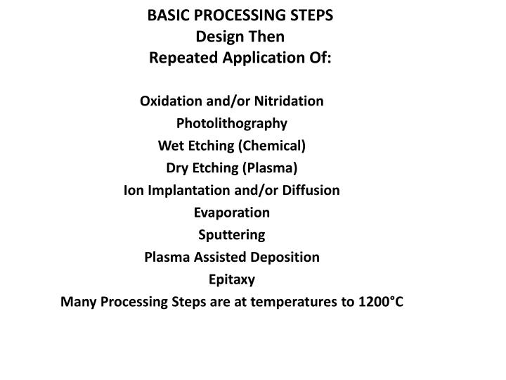 BASIC PROCESSING STEPS