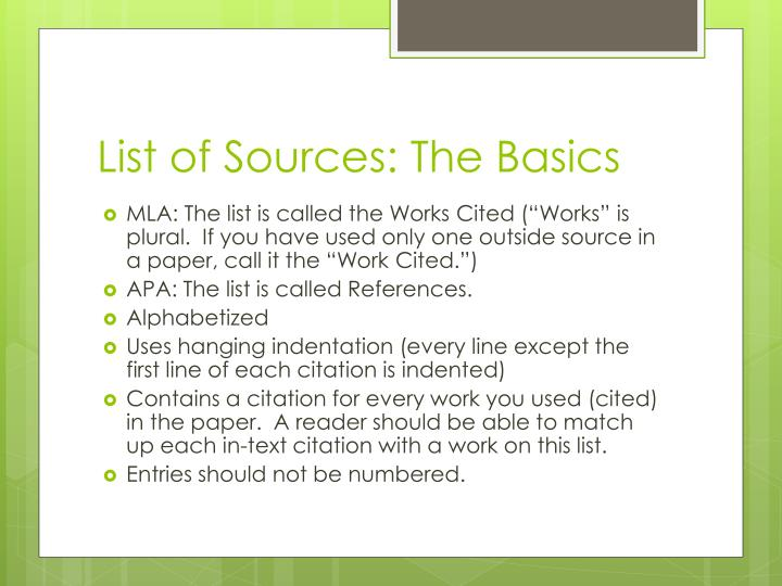 List of Sources: The Basics