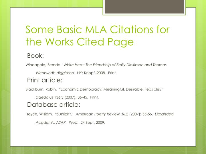 Some Basic MLA Citations for the Works Cited Page