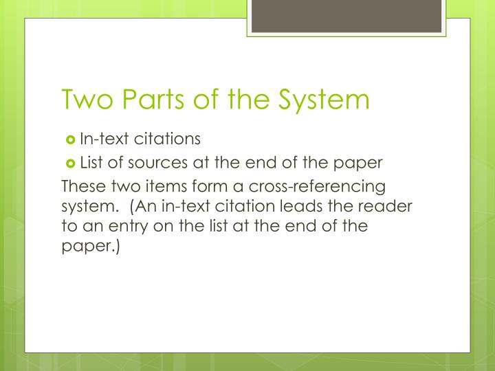 Two parts of the system