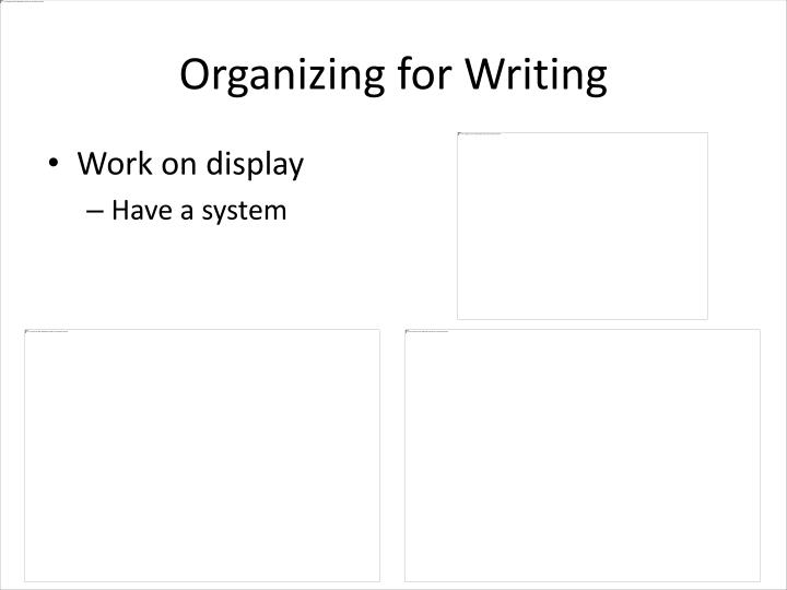 organizing writing What this handout is about this handout gives you strategies to help you rethink your draft's organization why reorganize many students who come to the writing center wonder whether their.
