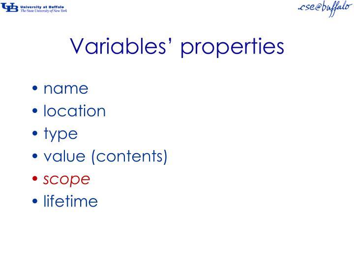 Variables' properties