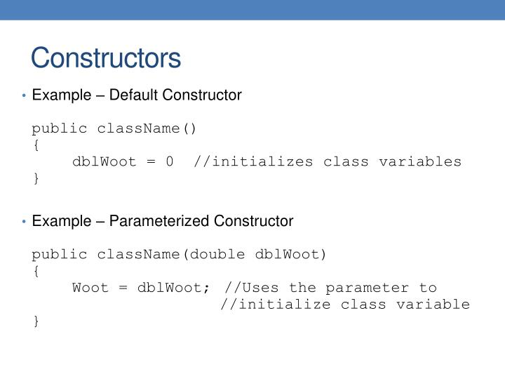 Example – Default Constructor