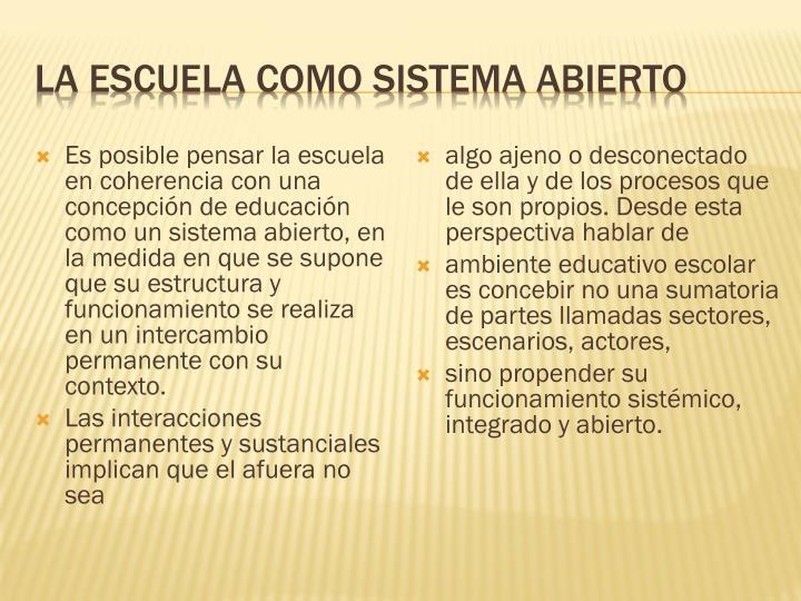 La escuela como sistema abierto