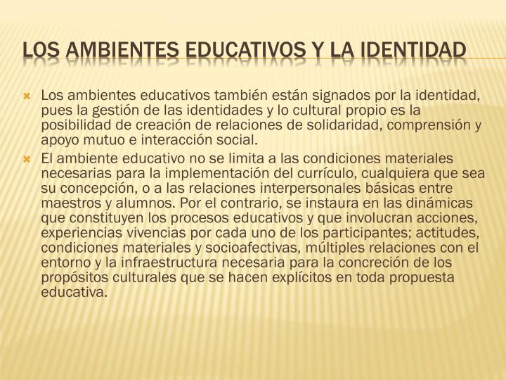 Los ambientes educativos también están signados por la identidad, pues la gestión de las identidades y lo cultural propio es la posibilidad de creación de relaciones de solidaridad, comprensión y apoyo mutuo e interacción social.