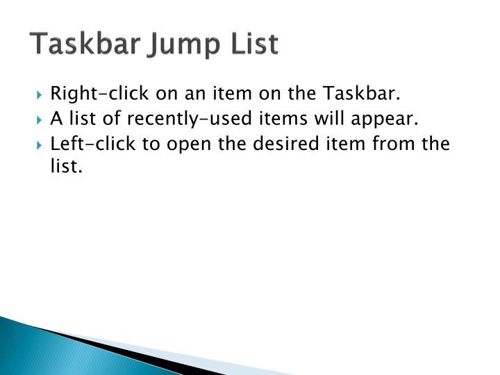 Taskbar Jump List