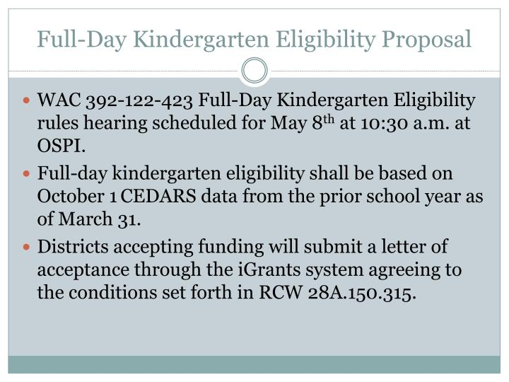 Full-Day Kindergarten Eligibility Proposal