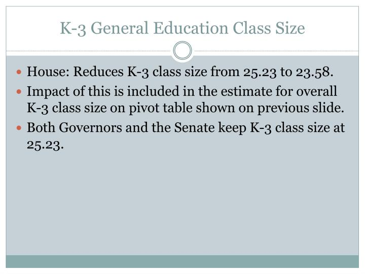 K-3 General Education Class Size