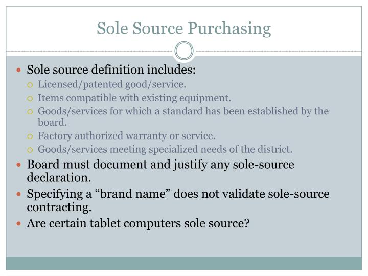 Sole Source Purchasing