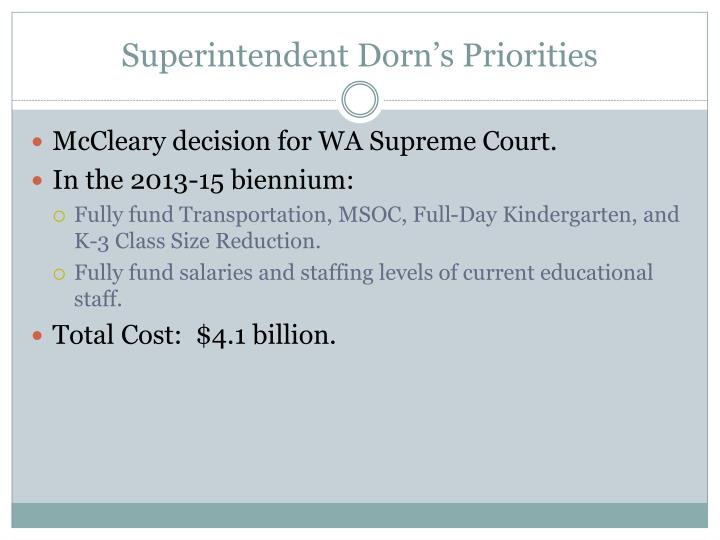 Superintendent dorn s priorities