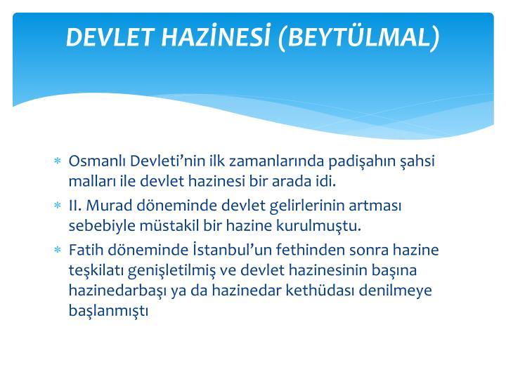 DEVLET HAZNES (BEYTLMAL)