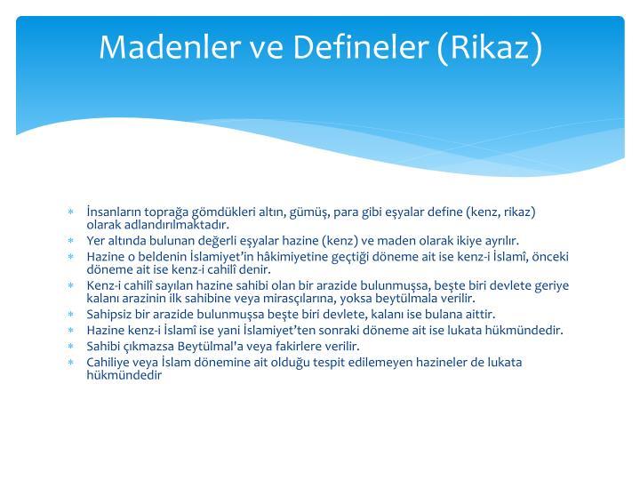 Madenler ve Defineler (