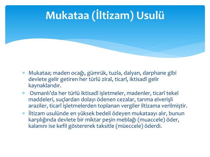 Mukataa (ltizam) Usul
