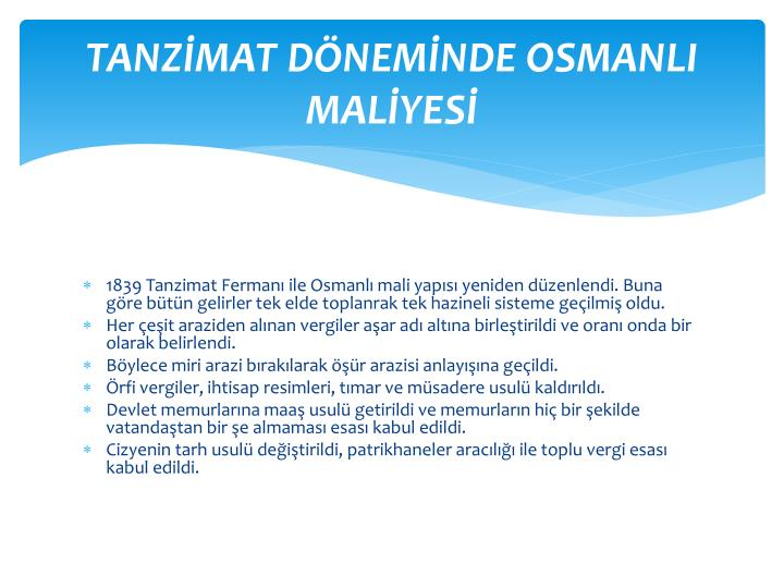 TANZMAT DNEMNDE OSMANLI MALYES