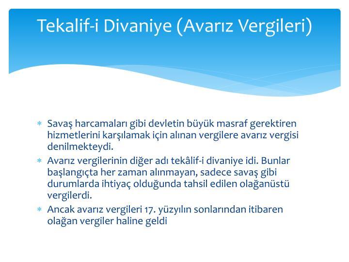 Tekalif-i Divaniye (Avarz Vergileri)