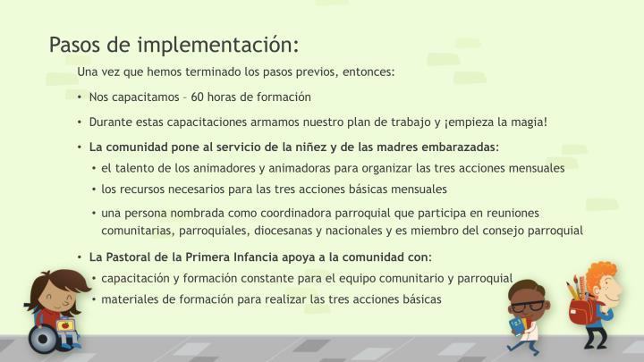 Pasos de implementación: