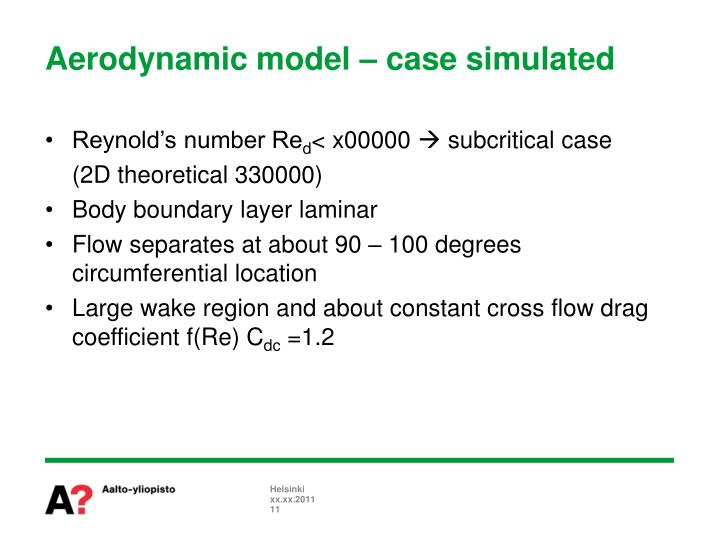 Aerodynamic model – case simulated