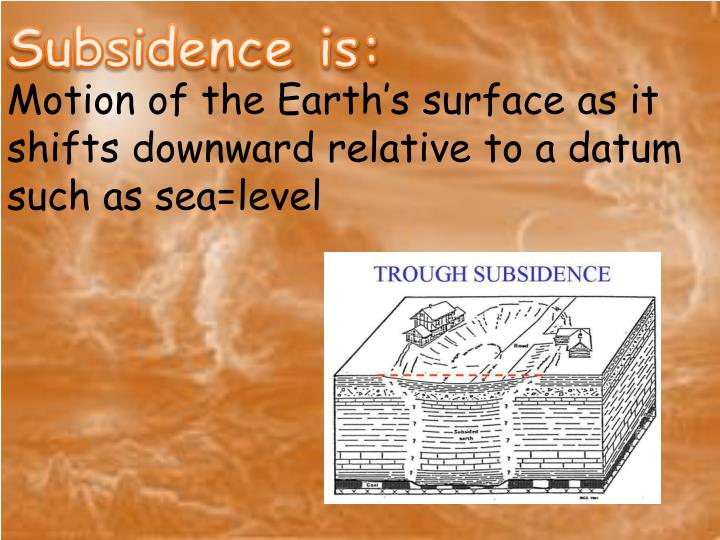 Subsidence is: