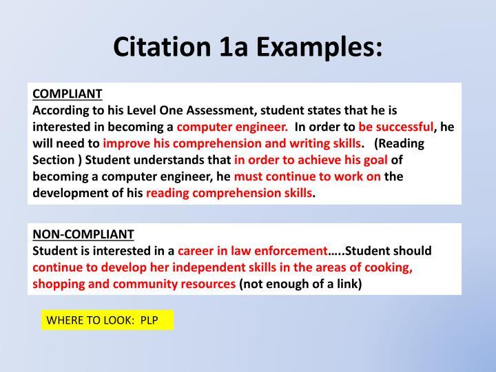 Citation 1a Examples:
