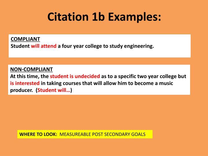 Citation 1b Examples: