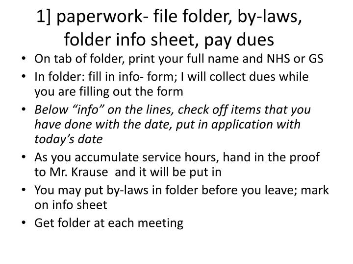 1 paperwork file folder by laws folder info sheet pay dues