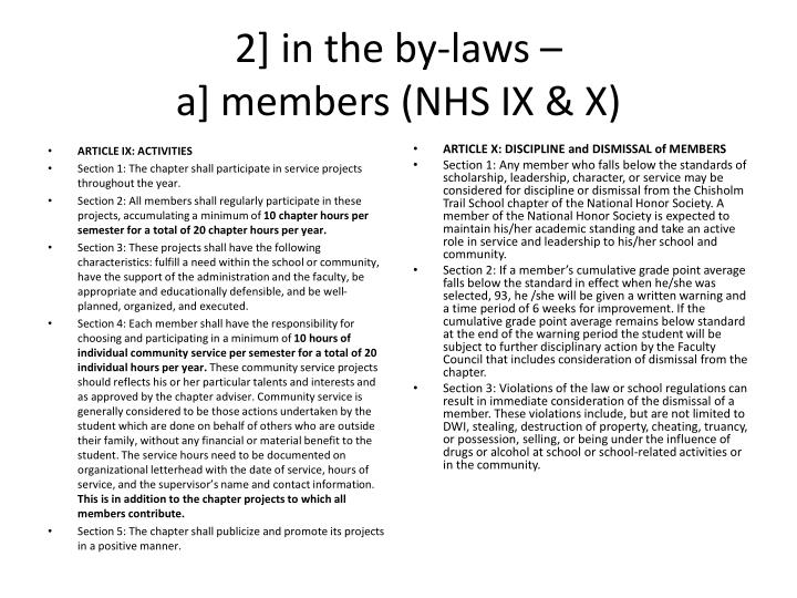 2 in the by laws a members nhs ix x