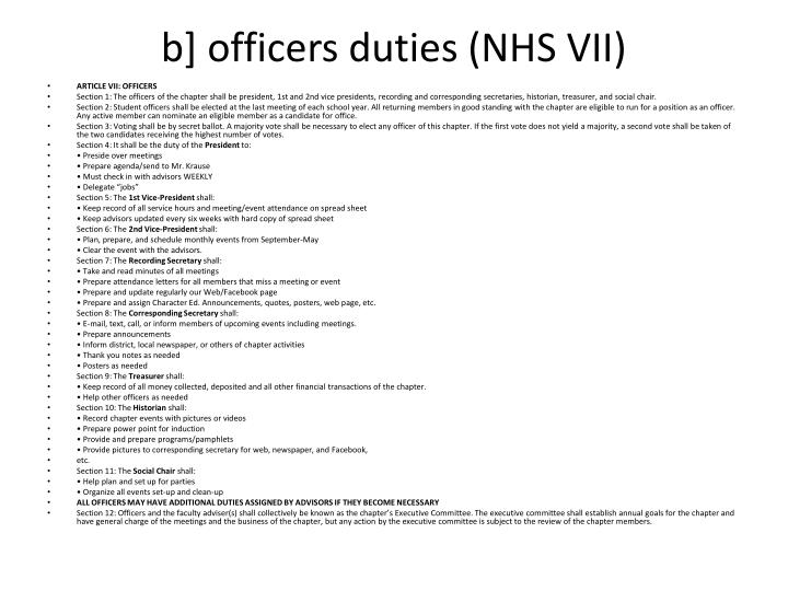 b] officers duties (NHS VII)