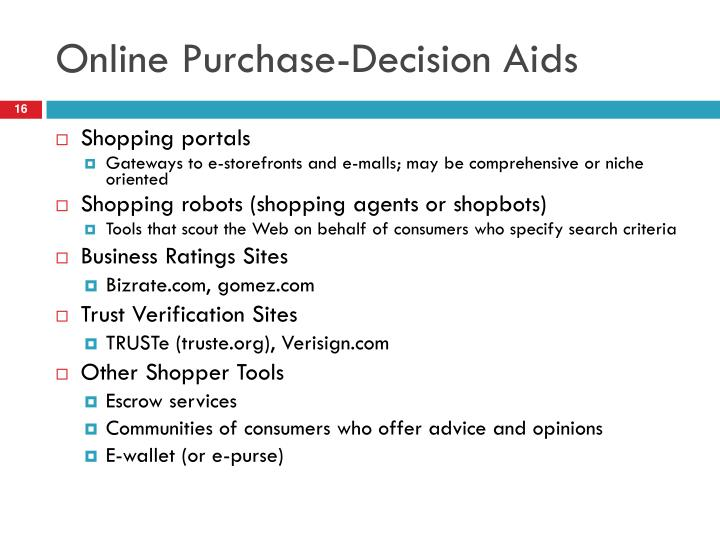 Online Purchase-Decision Aids