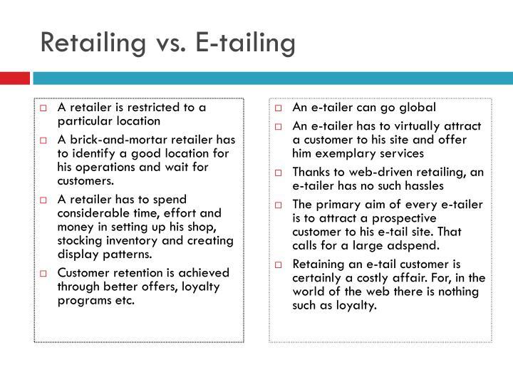 Retailing vs. E-tailing
