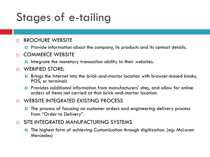Stages of e-tailing