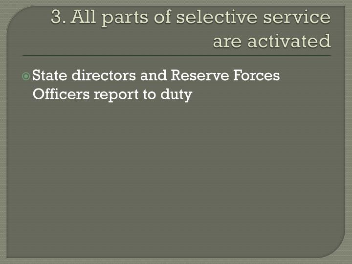 3. All parts of selective service are activated