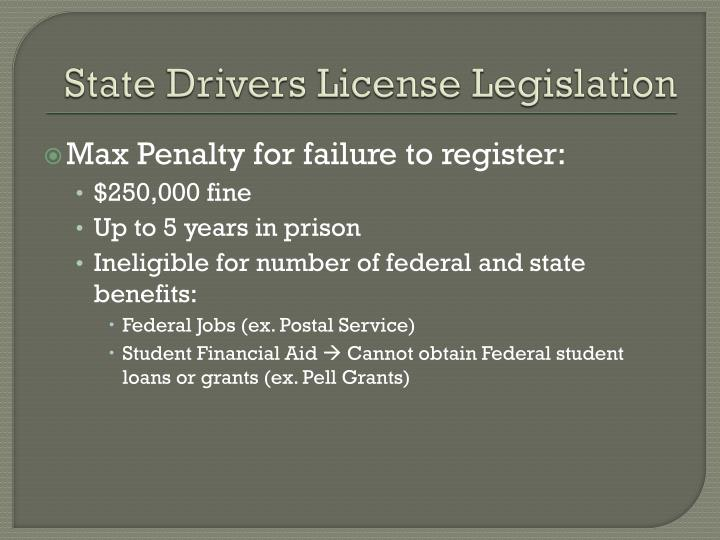 State Drivers License Legislation