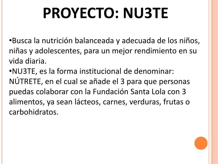 PROYECTO: NU3TE