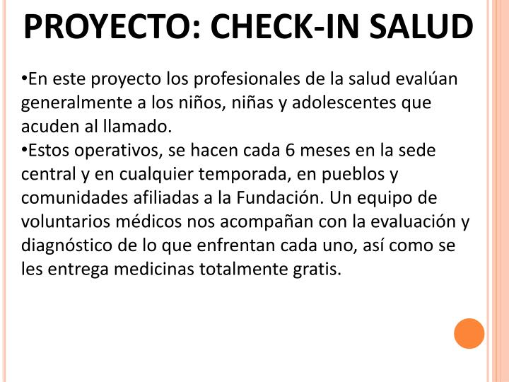 PROYECTO: CHECK-IN SALUD