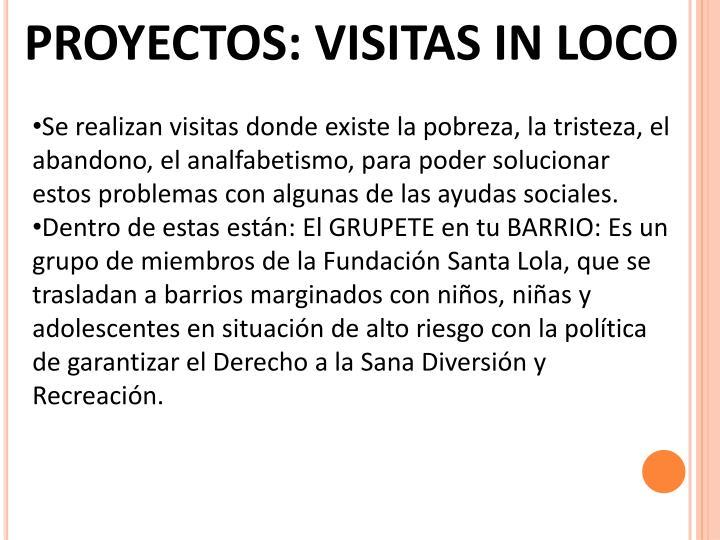 PROYECTOS: VISITAS IN LOCO