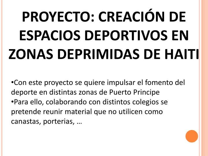PROYECTO: CREACIÓN DE ESPACIOS DEPORTIVOS EN ZONAS DEPRIMIDAS DE HAITI