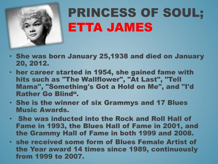 She was born January 25,1938 and died on January 20, 2012.