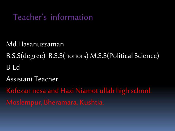 Teacher's  information