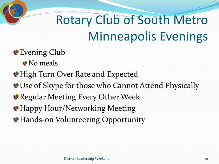 Rotary Club of South Metro Minneapolis Evenings