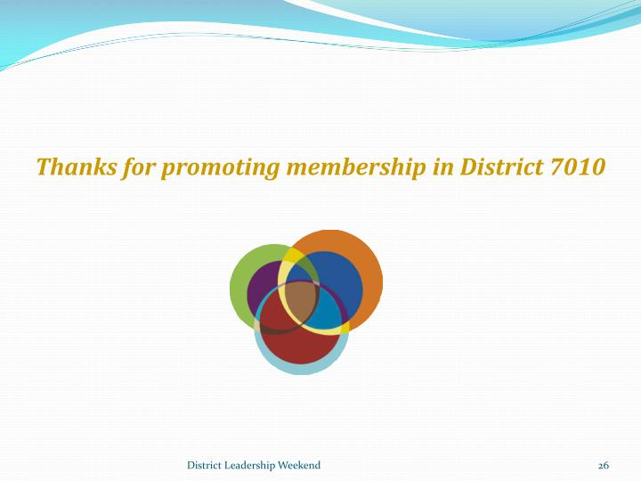 Thanks for promoting membership in District 7010